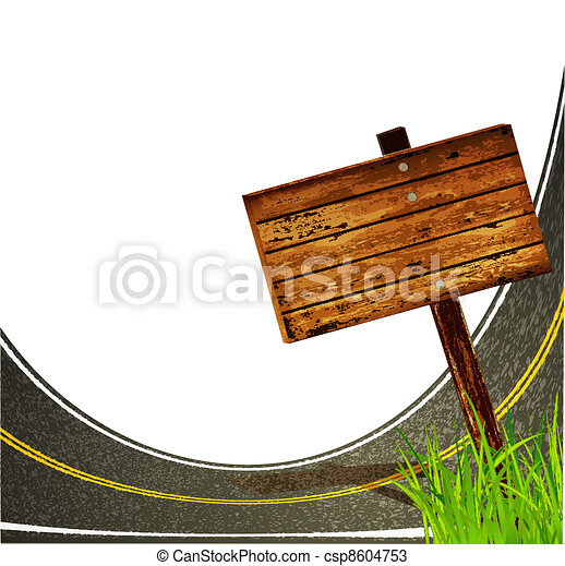asphalt road with  to pointing  wooden sign  on the  white background - csp8604753