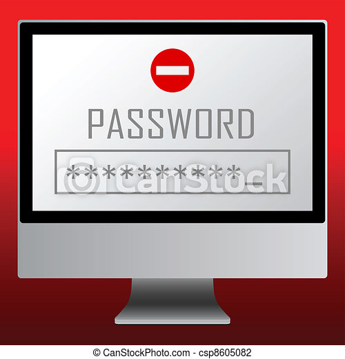 Vector illustration of single isolated password icon - csp8605082