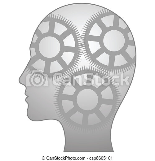Vector illustration of single isolated thinking-man icon - csp8605101