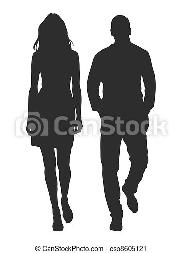Vector illustration of fashion people silhouette - csp8605121