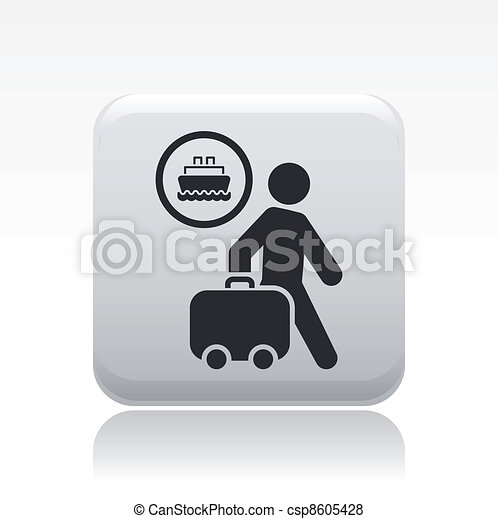Vector illustration of single isolated navy traveler icon - csp8605428