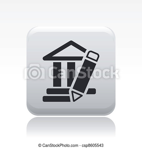 Vector illustration of single isolated temple design icon - csp8605543