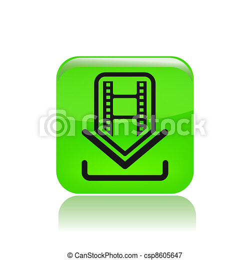 Vector illustration of single isolated download film icon - csp8605647