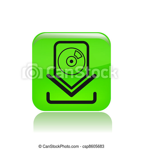 Vector illustration of single isolated music download icon - csp8605683