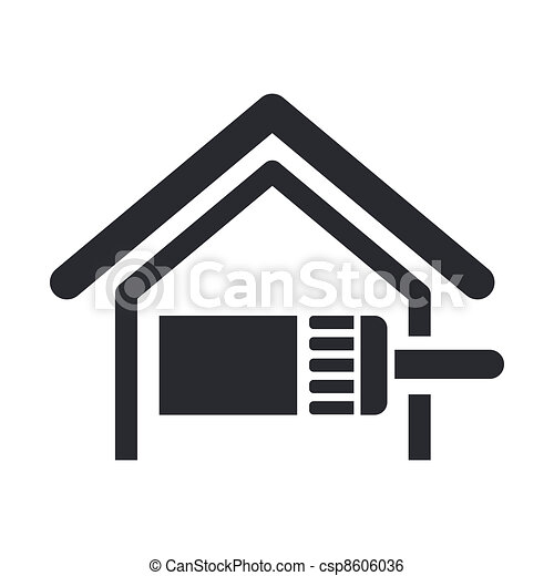 Vector illustration of single isolated paint home icon - csp8606036