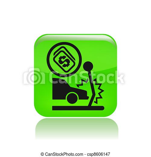 Vector illustration of single isolated insurance car icon - csp8606147