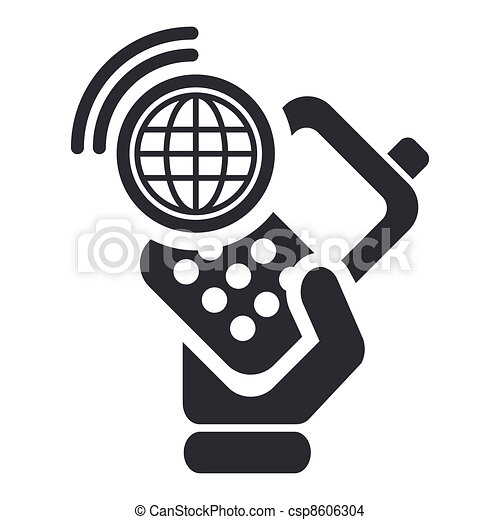 Vector illustration of single isolated smartphone connection icon - csp8606304