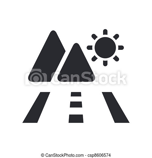 Vector illustration of single isolated mountains road icon - csp8606574