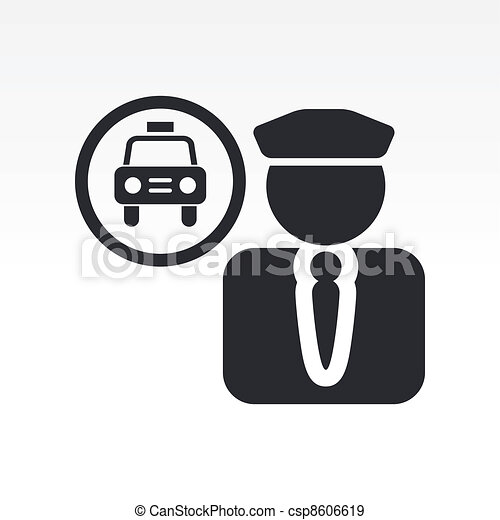 Vector illustration of single isolated taxi driver icon - csp8606619
