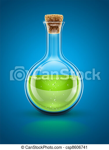 glass chemical flask with green toxic liquid - csp8606741