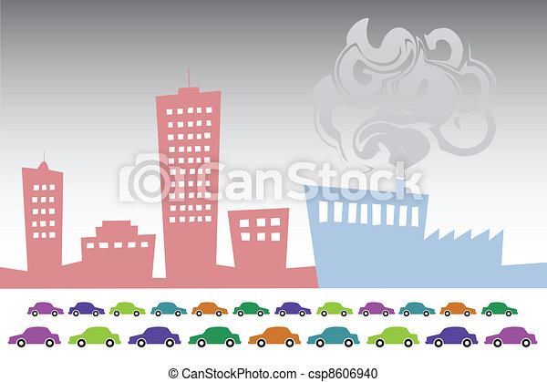 Vector illustration of vector pollution industry background design - csp8606940
