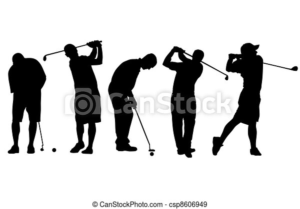 Vector illustration of single isolated golf player icon - csp8606949