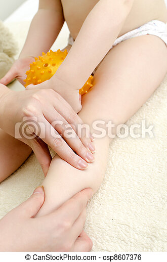 Therapist makes a child massage. Close-up - csp8607376