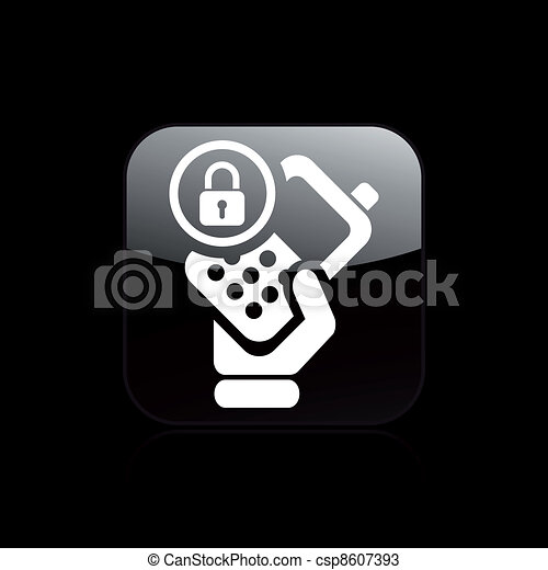 Vector illustration of single isolated phone lock icon - csp8607393