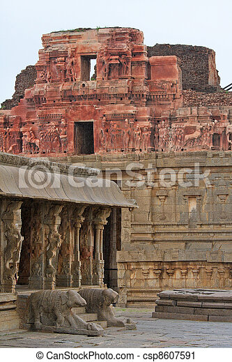 Vittala temple in Hampi, Karnataka province, South India, UNESCO world heritage site. - csp8607591