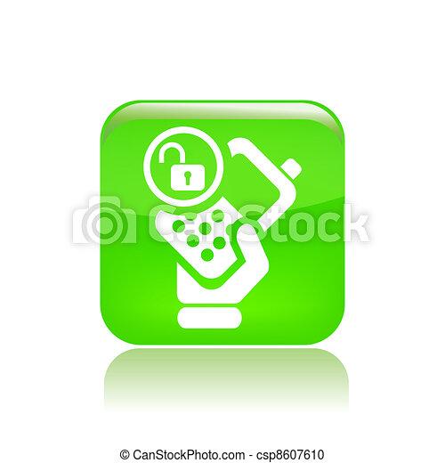 Vector illustration of single isolated lock phone icon - csp8607610