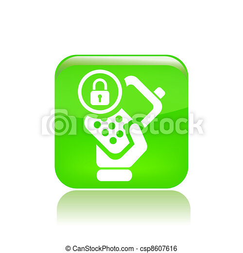 Vector illustration of single isolated lock phone icon - csp8607616