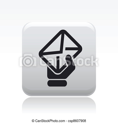 Vector illustration of single isolated mail hand icon - csp8607908