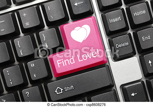 Conceptual keyboard - Find Love (pink key) - csp8608276