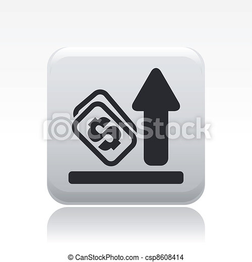 Vector illustration of single isolated increase money icon - csp8608414