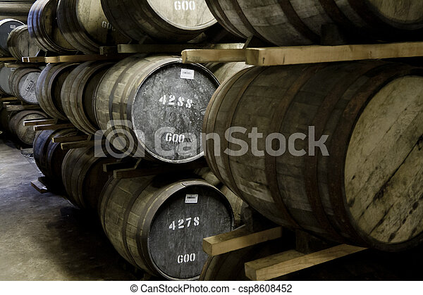 Whisky barrels in a distillery - csp8608452