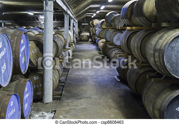 Whisky barrels in a distillery - csp8608463