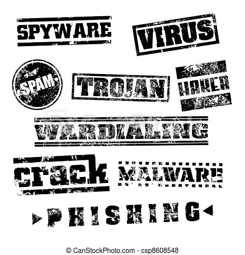 Vector illustration of isolated grunge pc virus stamp set - csp8608548