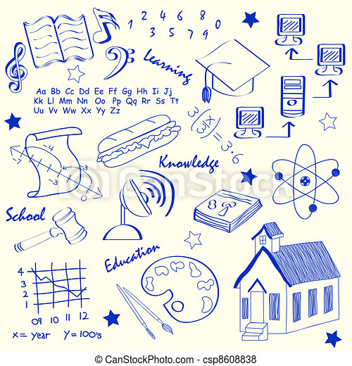 Hand Drawn School Icons Set - csp8608838