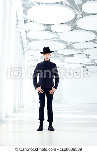 black far west modern fashion man with hat - csp8609539