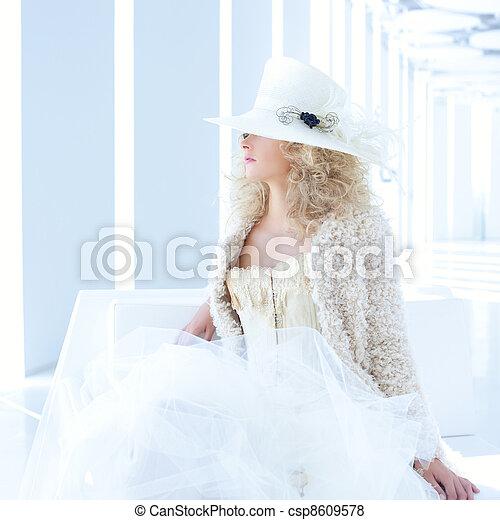 blond fashion woman with eighteenth century corset - csp8609578
