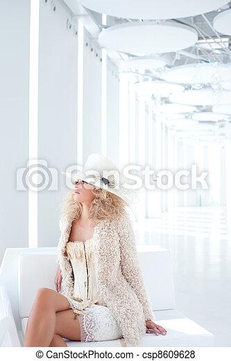 blond fashion woman with eighteenth century corset - csp8609628