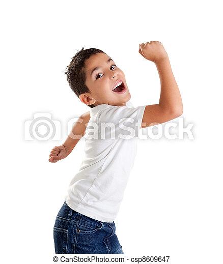 children excited kid expression with winner gesture - csp8609647