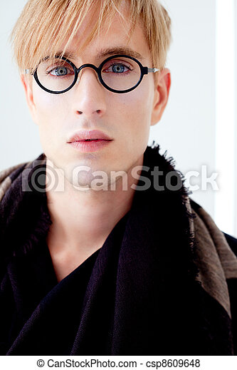 blond modern student man with nerd glasses - csp8609648