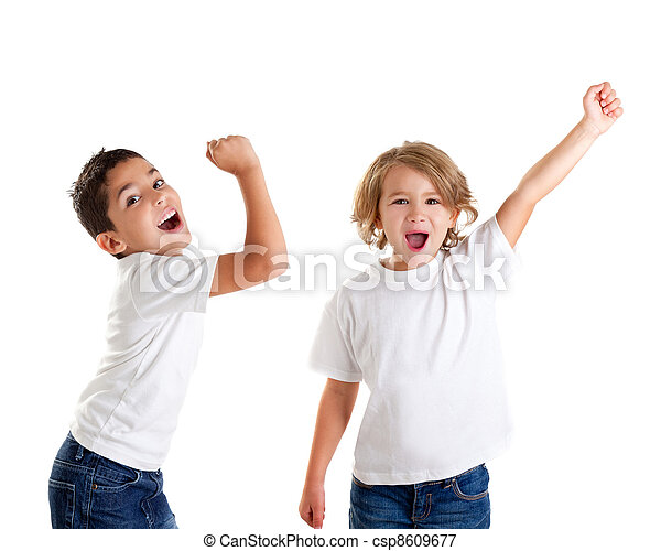 excited children kids happy screaming and winner gesture expression on white - csp8609677