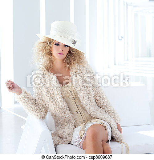 blond fashion woman with eighteenth century corset - csp8609687