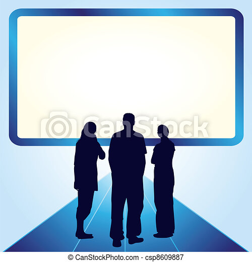People in front of the screen - csp8609887