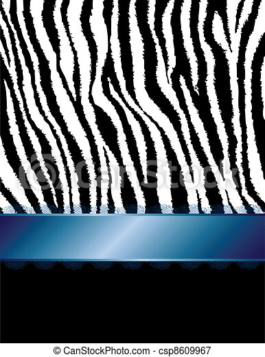 Zebra Stripes & Blue Filigree Ribbo - csp8609967