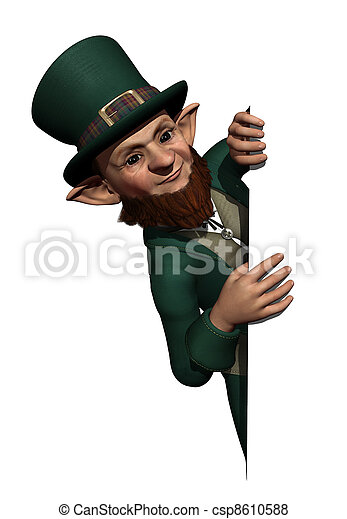 Leprechaun Looking Over an Edge or Border - csp8610588