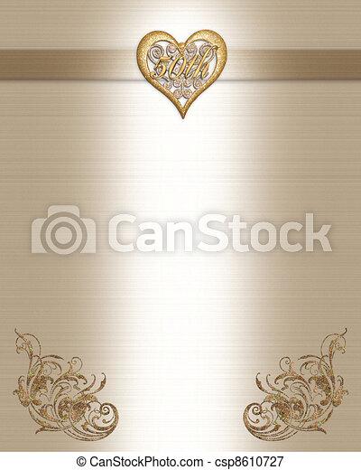 50th Anniversary Invitation Gold  - csp8610727