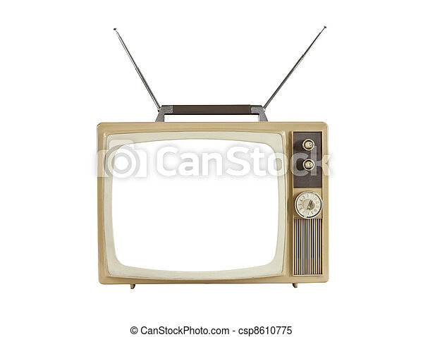 1960's Blank Screen Portable Television with Antennas Up - csp8610775