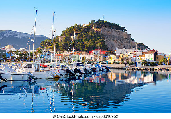 Denia mediterranean port village with castle - csp8610952