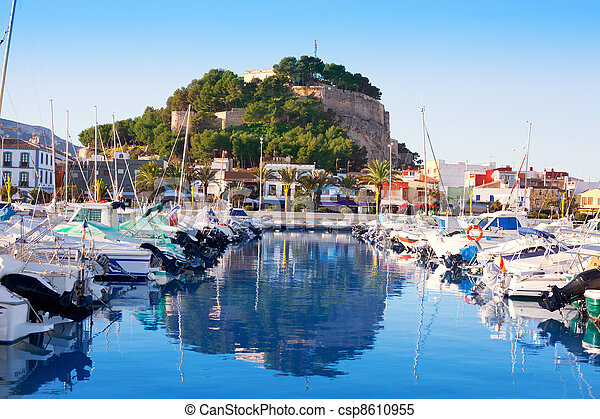 Denia mediterranean port village with castle - csp8610955