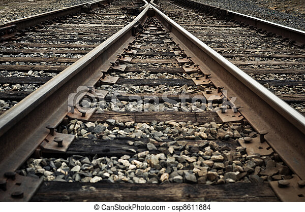 Old Rustic Railroad Track splitting lanes - csp8611884