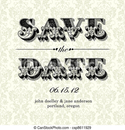 Vector Vintage Save the Date Card - csp8611929