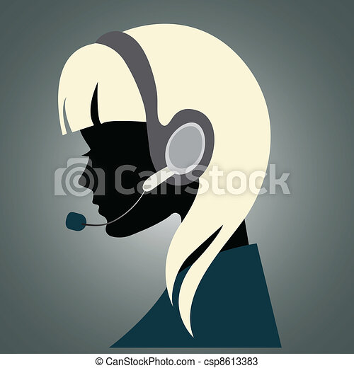 Girl with headset - csp8613383