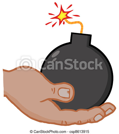 African American Hand Holding Bomb - csp8613915