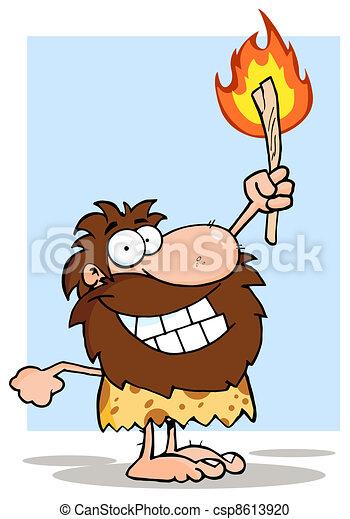 Caveman Holding Up A Torch - csp8613920