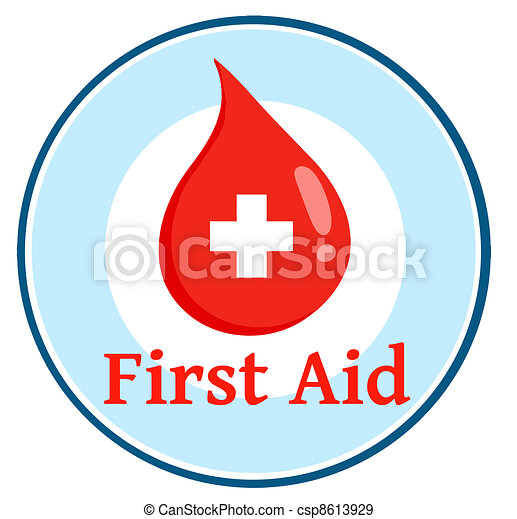 First Aid Blood Drop Circle - csp8613929