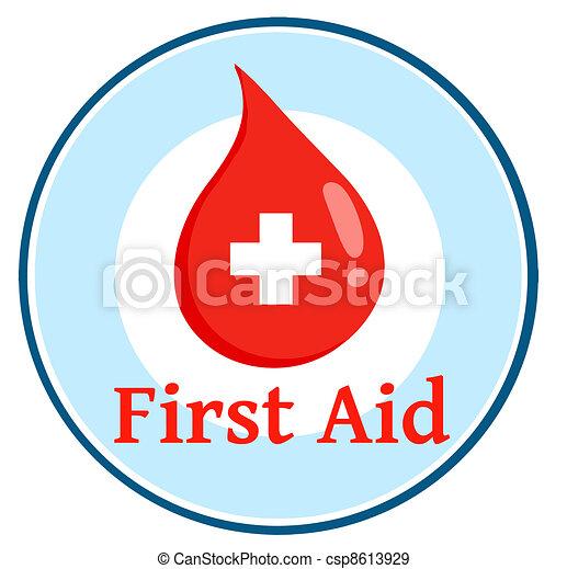 First Aid Blood Drop Circle - csp8613929