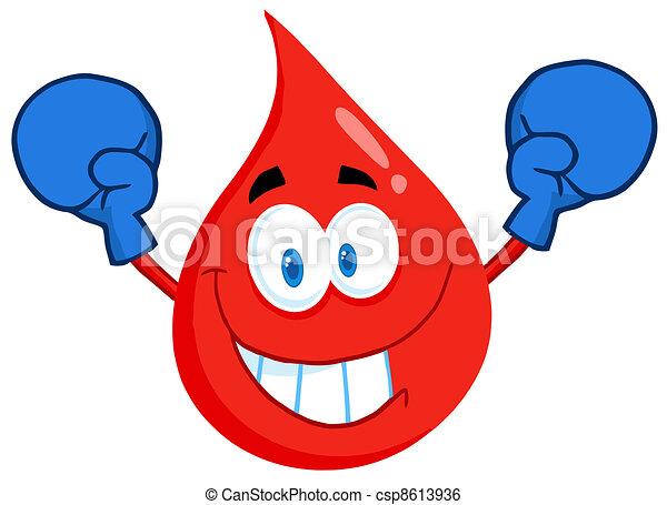 Blood Guy Wearing Boxing Gloves - csp8613936